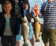 Salmon fishing on Lake Michigan