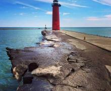 Lake Michigan Lighthouse along Kenosha's shoreline