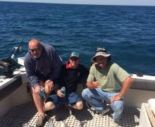 Fun in the sun charter boat fishing on Lake Michigan
