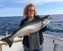 Salmon fishing on Lake Michigan with Kenosha Charter Boat Association