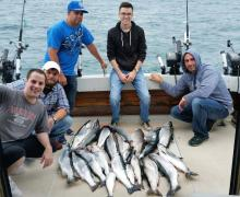 Catching our limit on Lake Michigan